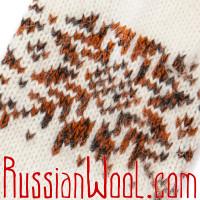 Варежки белые с красно-коричневой снежинкой