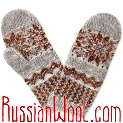 Варежки серый меланж с красно-коричневой снежинкой
