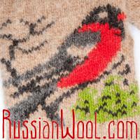 Варежки Снегири бело-бежевые