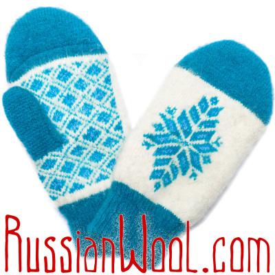 Варежки голубо-белые со снежиной