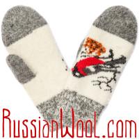 Варежки Снегири серо-белые