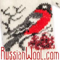 Варежки серо-белые со снегирём