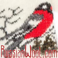 Варежки Снегири коричнево-молочные