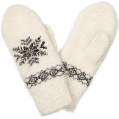 Варежки Ангора белые шерстяные с черной снежинкой