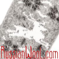 Варежки Олени Бег шерстяные серые