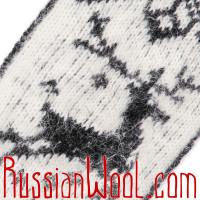 Варежки Олени шерстяные черно-белые