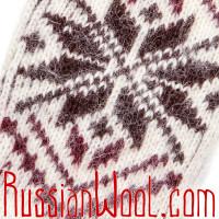Варежки женские шерстяные Звезда коричнево-бордовая