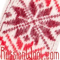 Варежки женские шерстяные Звезда красно-бордовая
