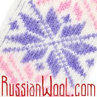 Варежки женские шерстяные Звезда розово-фиолетовая
