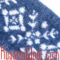 Варежки Иней бело-синие со снежинками