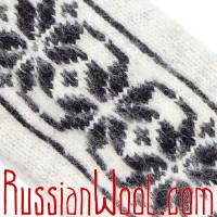 Варежки Иней черно-белые с крупным узором