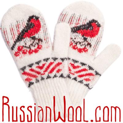 Варежки Снегири белые с орнаментом, шерстяные