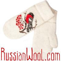 Комплект Снегири Зима: белые шерстяные носки и варежки