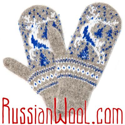 Варежки Алтай с бело-синим оленем, серые