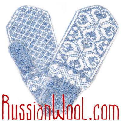 Варежки голубые с восточным орнаментом
