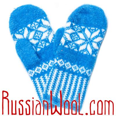 Варежки ярко-голубые с белой звездочкой