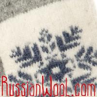 Варежки со снежинкой, серо-белые