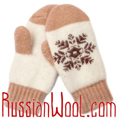 Варежки со снежинкой, бежево-белые