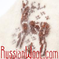 Варежки Иней с оленем, шоколадно-белые