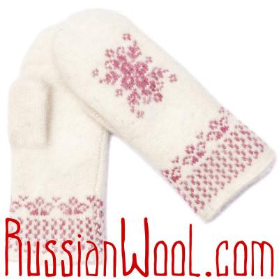 Варежки Иней со снежинкой, розово-белые