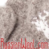 Варежки Иней с оленем бежево-серые