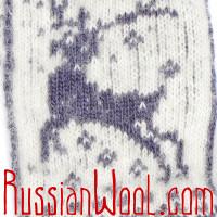 Варежки Олени шерстяные туманно-белые