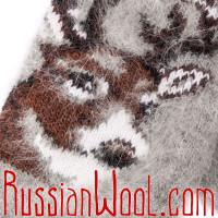 Варежки Олени пуховые серые, женские