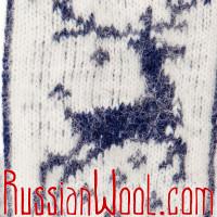 Варежки Олени шерстяные сине-белые