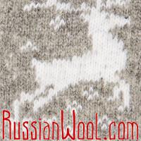 Варежки Олени пуховые бело-серые