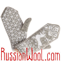 Варежки Олени шерстяные бело-серые