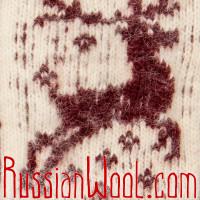 Варежки Олени шерстяные красно-белые