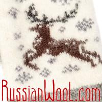 Варежки серо-белые с оленем