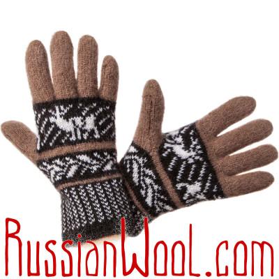 Перчатки Русская Зима с ангорой, коричнево-черные