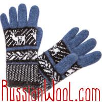 Перчатки Русская Зима с ангорой, сине-черные