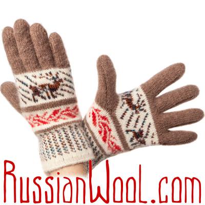 Перчатки Русская Зима с ангорой, бежево-белые
