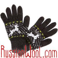 Перчатки Осенние шерстяные черные