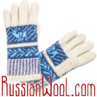 Перчатки Русская Зима с ангорой, бело-синие