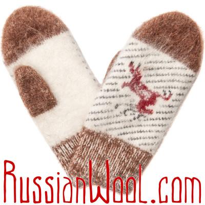 Варежки Ангора с оленем рыже-белые