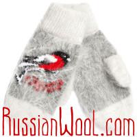 Варежки Снегири пуховые серые