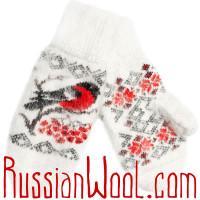 Варежки Снегири пуховые белые
