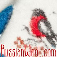 Варежки Снегири голубо-белые