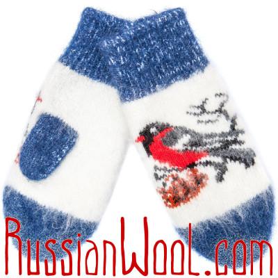Варежки Снегири джинсово-белые