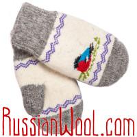 Варежки со снегирями, детские, разноцветные