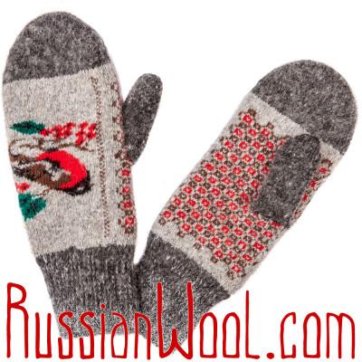 Варежки со Снегирями серые с орнаментом