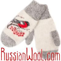 Комплект Снегири Пух: белые пуховые носки и варежки