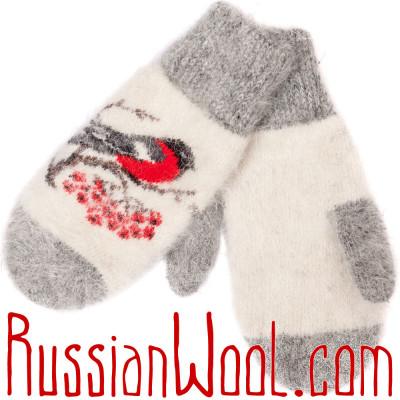 Варежки Снегири белые пуховые