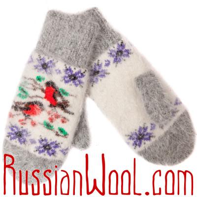 Варежки Стайка Снегирей белые пуховые
