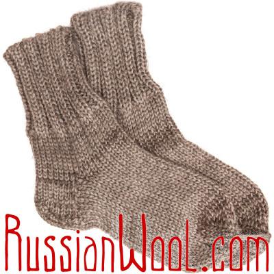 Носки Зимняя Сказка из козьего пуха и шерсти, с укрепленной пяткой, натуральные