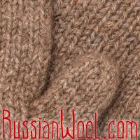 Варежки из 100% верблюжьей шерсти коричневые двухцветные