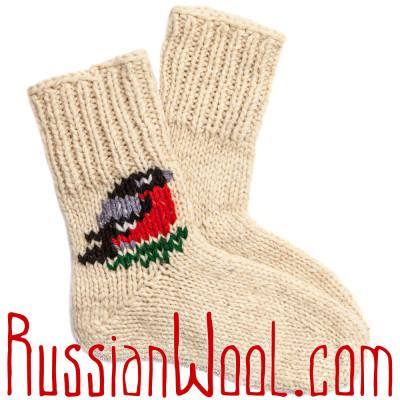 Носки Подарочные мужские Снегири 100% шерсть